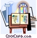 Bible with holy water and Vector Clipart picture