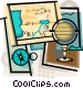 geography motif with compass Vector Clipart picture