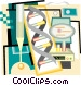 DNA strand with test tubes Vector Clipart picture