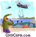 Rescuing a whale Vector Clip Art image