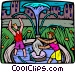 playing at the fountain Vector Clip Art graphic