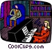woman playing the piano Vector Clip Art graphic