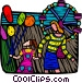 mother & daughter at the fair Vector Clip Art picture