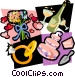 Wedding rings, flowers, champagne, cakes Vector Clipart graphic