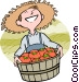 man with a fresh bushel of Vector Clip Art picture