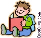 Little boy with his homework Vector Clip Art image