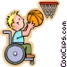 little boy in wheelchair Vector Clipart picture