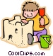 little boy building a sand Vector Clipart graphic