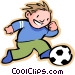 Little boy with a soccer ball Vector Clipart illustration