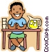 little boy selling lemonade at Vector Clipart illustration