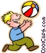 little boy with a beach ball Vector Clipart graphic