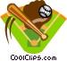 baseball diamond with bat Vector Clipart image