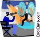 movie director instructing Vector Clip Art picture