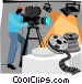 camera man filming movie Vector Clip Art graphic