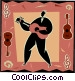 man playing the guitar Vector Clipart graphic