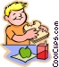 little boy with a sandwich Vector Clipart graphic