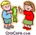 Boy with frog showing it to a little girl Vector Clip Art graphic