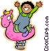 Little boy riding on a spring Vector Clip Art image