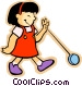 little girl with a yo-yo Vector Clipart graphic