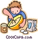 little boy missing flour in a Vector Clipart graphic