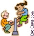 boy and girl on a teeter Vector Clip Art picture