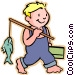 Little boy with his fishing pole Vector Clip Art graphic