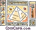 pyramid, camels and hieroglyphics Vector Clipart graphic
