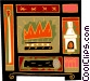 fireplace motif with matches Vector Clipart picture