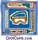 snorkel, mask, fish, spear gun Vector Clip Art image