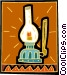 coal oil lamp Vector Clipart illustration