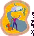 man hitch hiking Vector Clipart picture