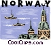 Norway harbor scene Vector Clipart illustration