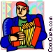 man playing accordion Vector Clip Art image
