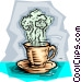 Cup of hot coffee Vector Clipart image