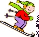 little boy skiing Vector Clipart picture