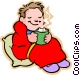 little boy with hot cup of Vector Clipart illustration