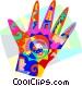 Human hand design time symbols Vector Clip Art image