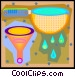 kitchen strainer and funnel Vector Clipart illustration