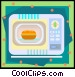 microwave with pot Vector Clip Art graphic