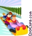 toboggan ride Vector Clip Art graphic