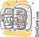 small refrigerator Vector Clipart illustration