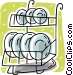 plate rack Vector Clipart image