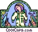 astronaut with spaceship Vector Clipart image