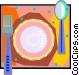 place setting in decorative Vector Clipart image