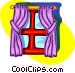 window with curtains Vector Clip Art graphic