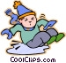 boy slipping on ice Vector Clipart image