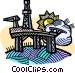 oil drilling platform Vector Clip Art picture