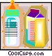 milk containers, baby bottle, Vector Clipart image