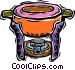 fondue pot Vector Clip Art image