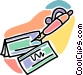 pen writing checks Vector Clipart illustration